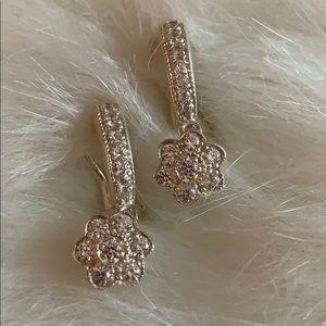 Diamonique Sterling Silver CZ Clip-On Earrings